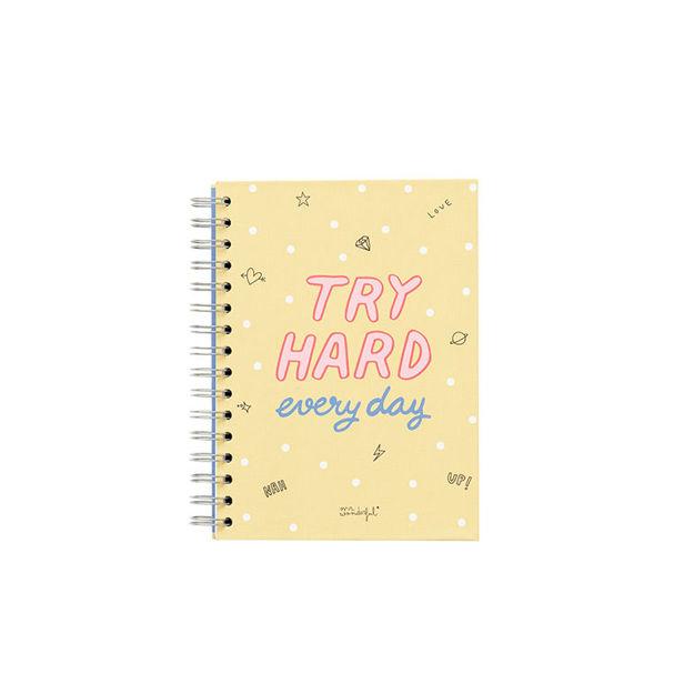 """Imagem de Caderno """"Try Hard Everyday"""""""
