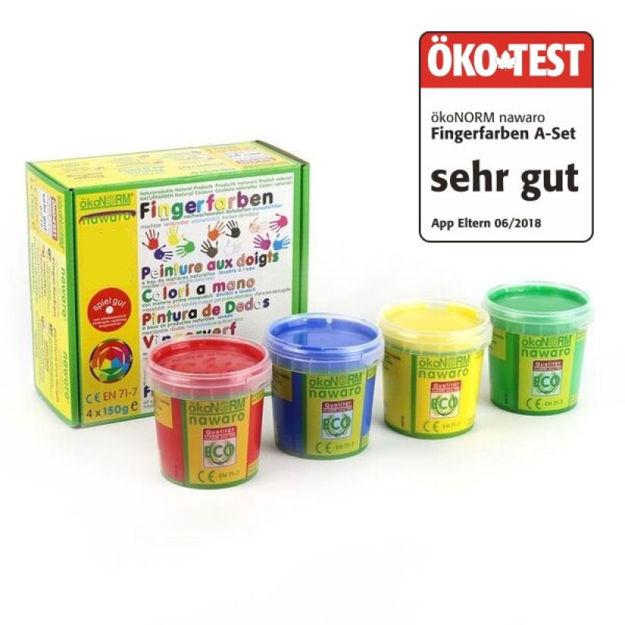 """Imagem de Tinta de Dedos Ecológica, 4 cores, ÖKO-TEST """"Muito Bom"""""""