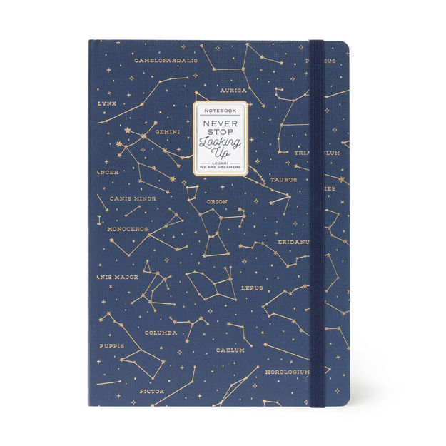 "Imagem de Notebook c/ Elástico Grande ""Never Stop Looking Up"""