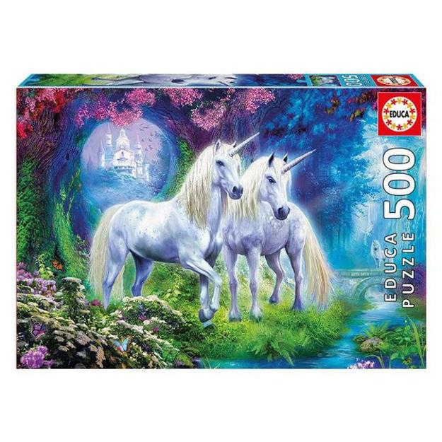 """Imagem de Puzzle Educa 500 Pcs """"Unicórnios no Bosque"""""""